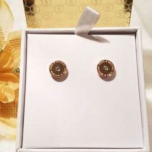 Michael Kors Rose goldtone logo earrings